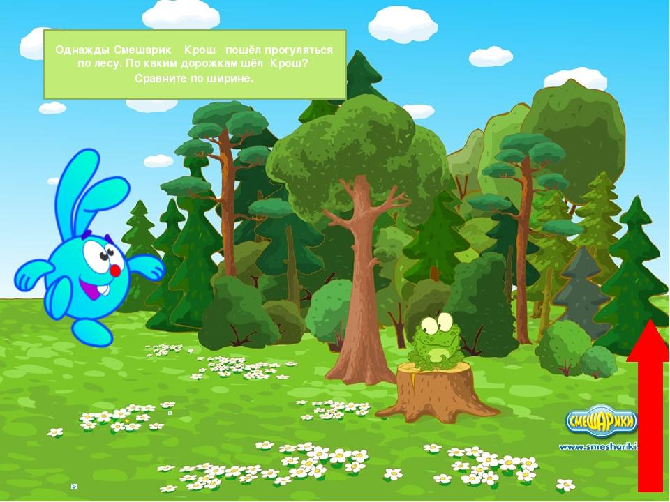 Однажды Смешарик Крош пошёл прогуляться по лесу. По каким дорожкам шёл Крош?...