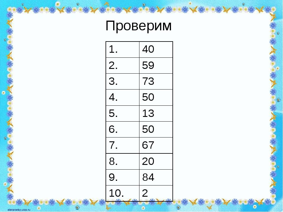 Проверим 1. 40 2. 59 3. 73 4. 50 5. 13 6. 50 7. 67 8. 20 9. 84 10. 2
