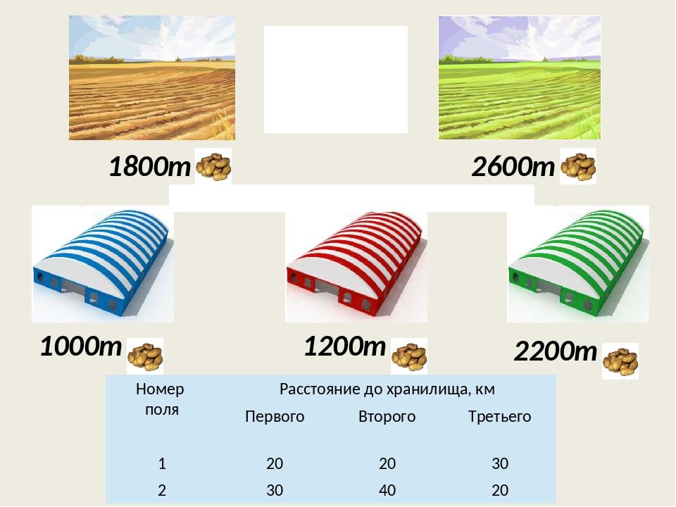 1800т 2600т 1000т 1200т 2200т Вместимость хранилищ Урожай собранный на каждом...