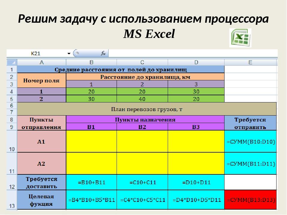 Решим задачу с использованием процессора MS Excel
