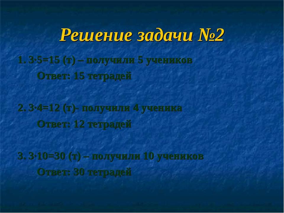Решение задачи №2 1. 3∙5=15 (т) – получили 5 учеников Ответ: 15 тетрадей 2. 3...