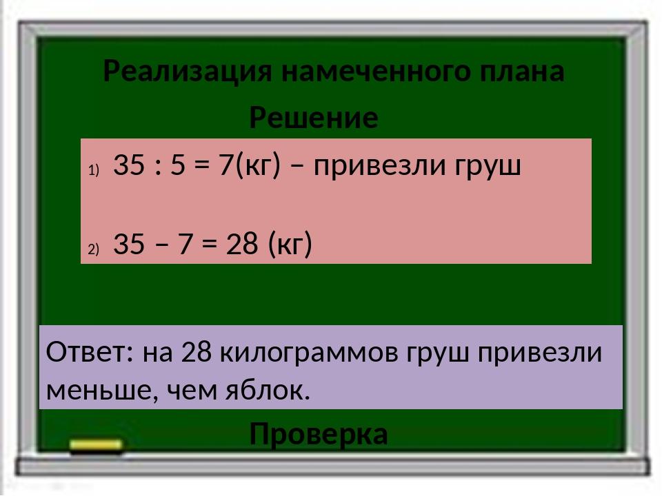 Реализация намеченного плана Решение 35 : 5 = 7(кг) – привезли груш 35 – 7 =...
