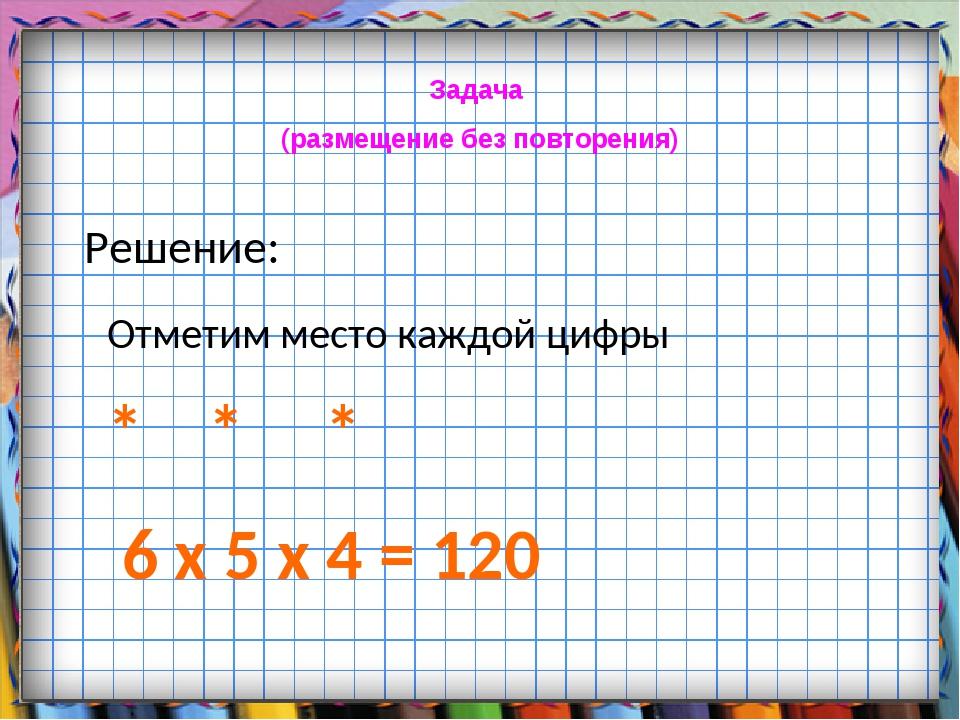 Задача (размещение без повторения) Решение: Отметим место каждой цифры * * *...
