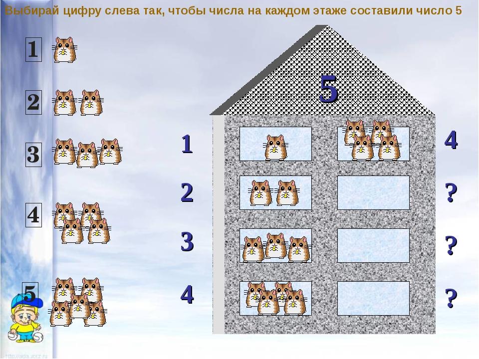 5 1 2 4 ? 3 ? ? 4 Выбирай цифру слева так, чтобы числа на каждом этаже состав...