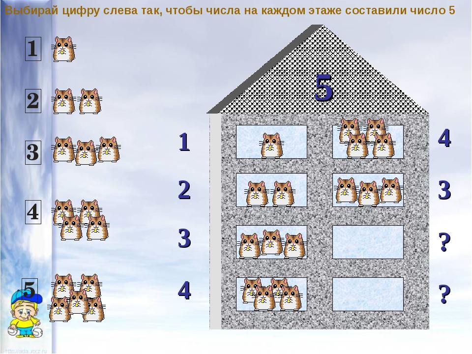 5 1 2 4 3 3 ? ? 4 Выбирай цифру слева так, чтобы числа на каждом этаже состав...