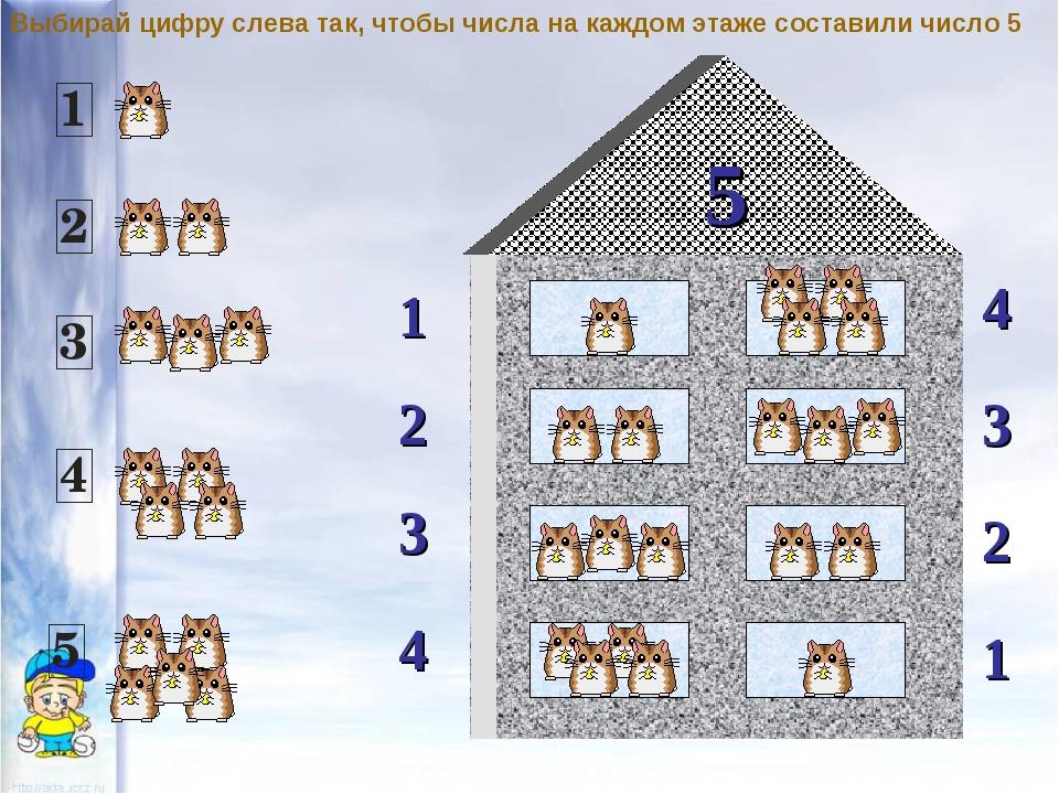 5 1 2 4 3 3 2 1 4 Выбирай цифру слева так, чтобы числа на каждом этаже состав...