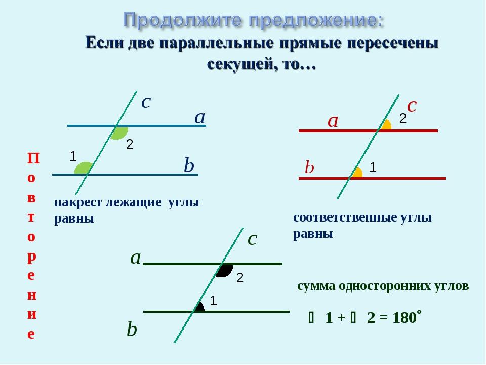 а c b а c b а c b  1 +  2 = 180 1 2 1 1 2 2 накрест лежащие углы равны соо...