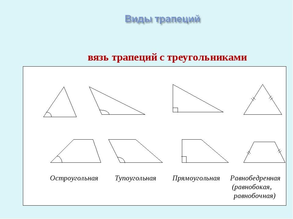 Связь трапеций с треугольниками Остроугольная Тупоугольная Прямоугольная Равн...