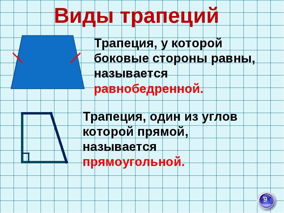 Виды трапеций Трапеция, у которой боковые стороны равны, называется равнобедр...