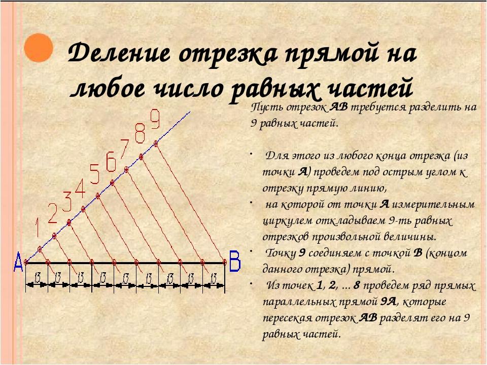 Деление отрезка прямой на любое число равных частей Пусть отрезок АВ требуетс...