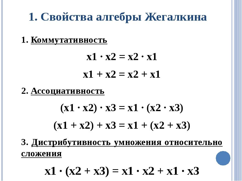 1. Свойства алгебры Жегалкина 1. Коммутативность х1 ∙ х2 = х2 ∙ х1 х1 + х2 =...
