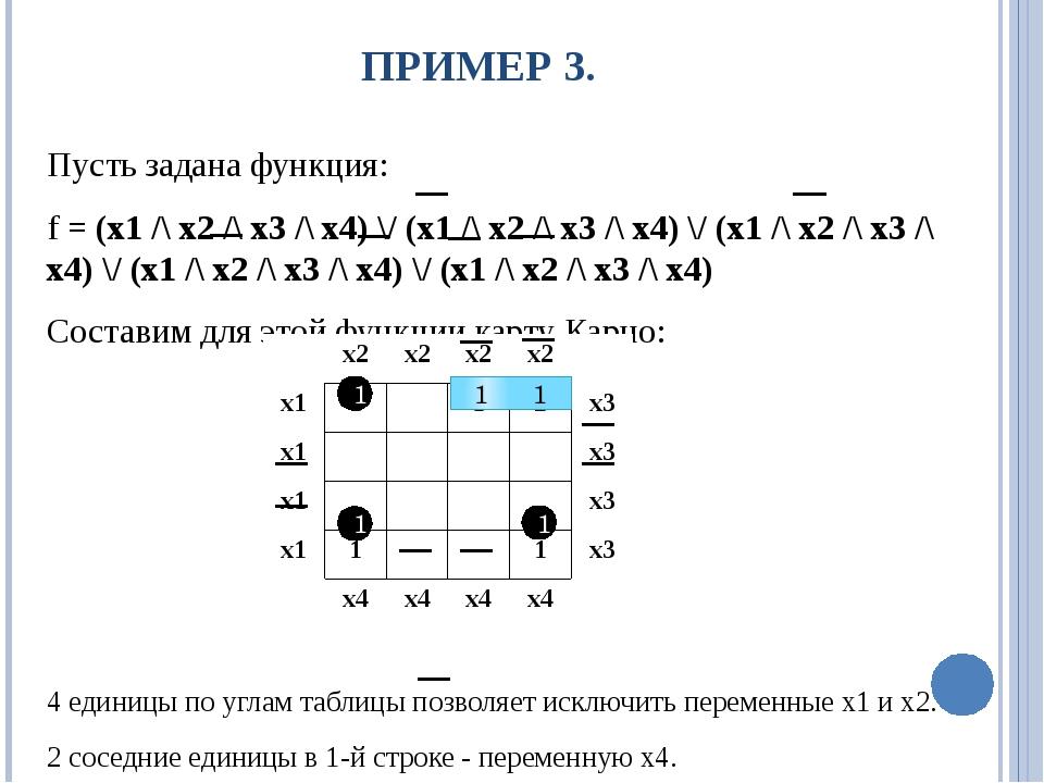 ПРИМЕР 3. Пусть задана функция: f = (x1 /\ x2 /\ x3 /\ x4) \/ (x1 /\ x2 /\ x3...