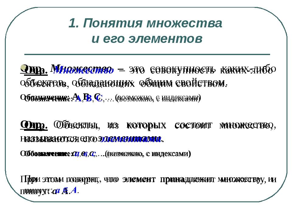 1. Понятия множества и его элементов