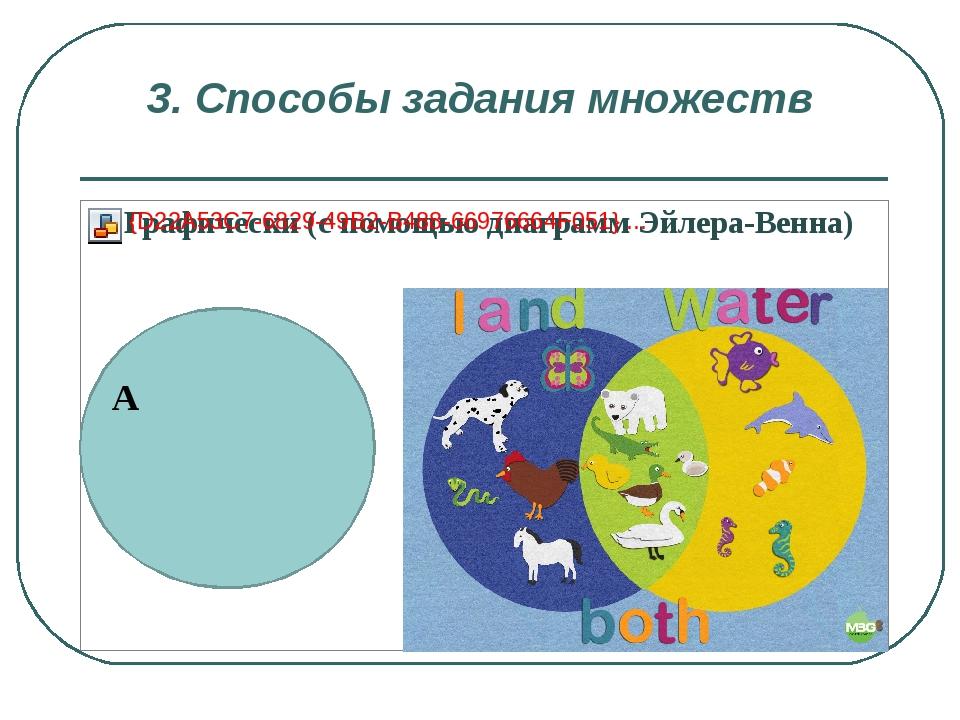 3. Способы задания множеств А