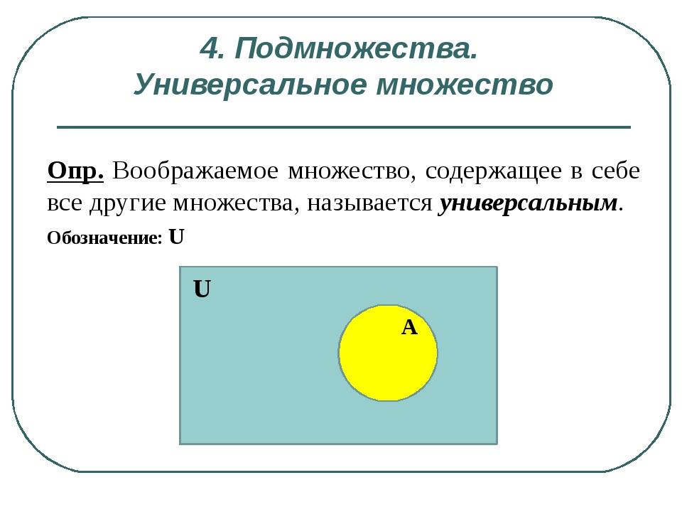 4. Подмножества. Универсальное множество Опр. Воображаемое множество, содержа...