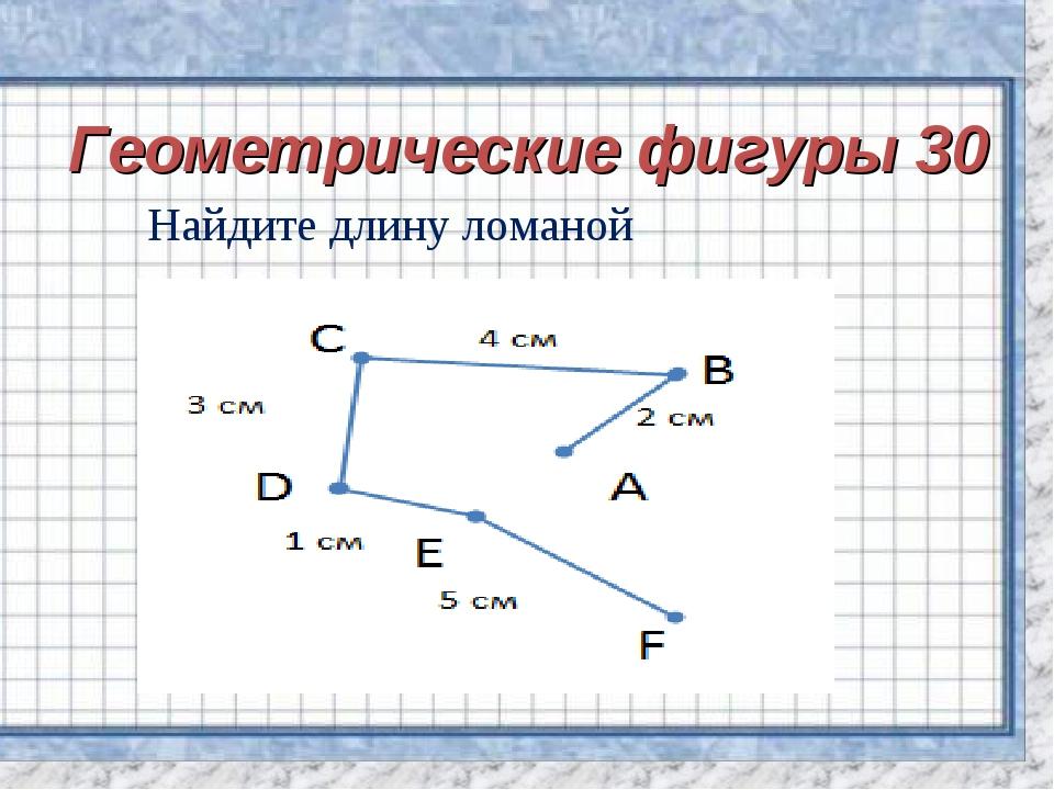 Геометрические фигуры 30 Найдите длину ломаной