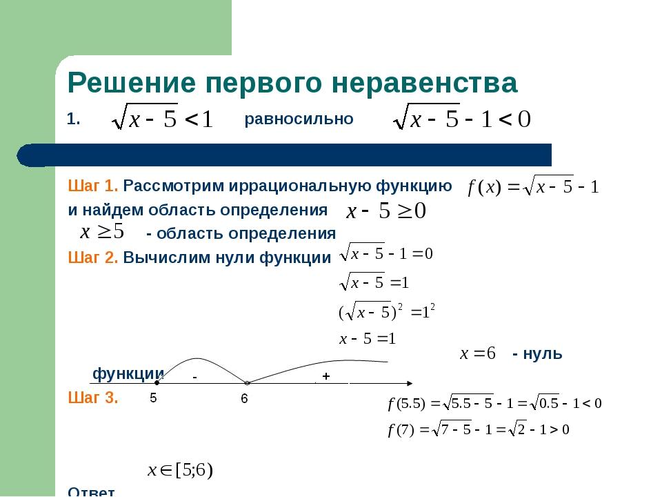 Решение первого неравенства 1. равносильно Шаг 1. Рассмотрим иррациональную ф...