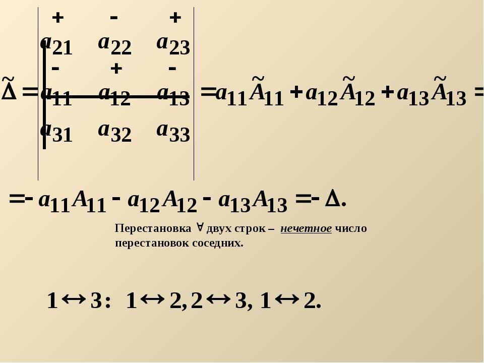 Перестановка  двух строк – нечетное число перестановок соседних.