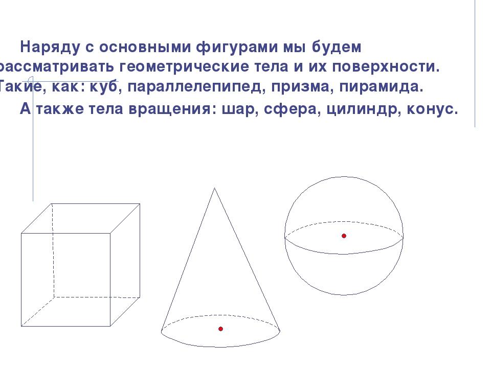 Наряду с основными фигурами мы будем рассматривать геометрические тела и их п...