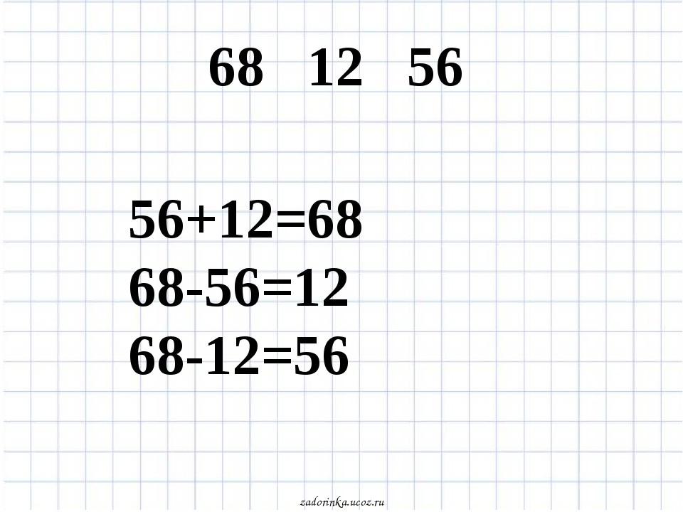 68 12 56 56+12=68 68-56=12 68-12=56 zadorinka.ucoz.ru