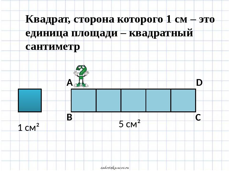 1 см² Квадрат, сторона которого 1 см – это единица площади – квадратный санти...