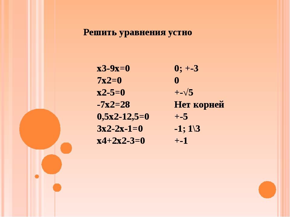 x3-9x=0 7x2=0 x2-5=0 -7x2=28 0,5x2-12,5=0 3x2-2x-1=0 x4+2x2-3=0 0; +-3 0 +-√5...