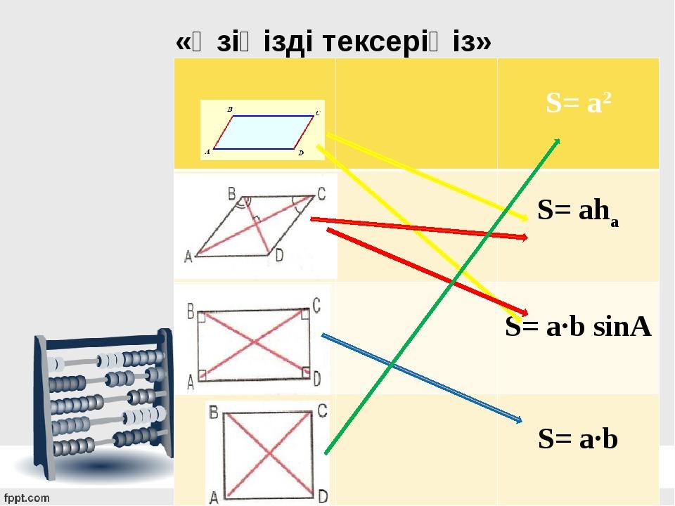 «Өзіңізді тексеріңіз» S= a2 S= aha S= a·b sinА S= a·b