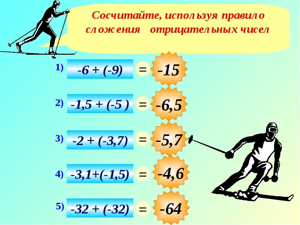 Сосчитайте, используя правило сложения отрицательных чисел -4,6 -15 -6,5 -5,7...