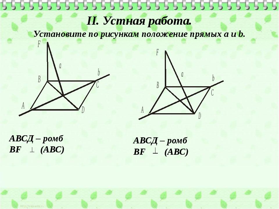 II. Устная работа. Установите по рисункам положение прямых а и b. АВСД – ромб...