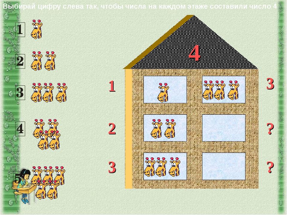 4 1 2 3 ? 3 ? Выбирай цифру слева так, чтобы числа на каждом этаже составили...
