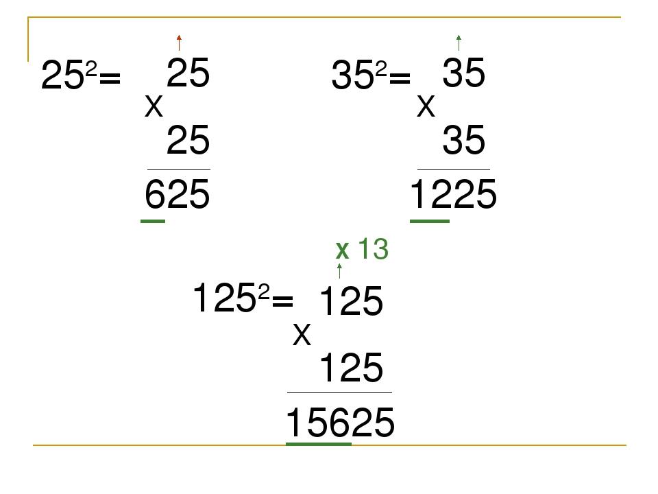 252= 25 X 25 625 352= 35 X 35 1225 1252= 125 X 125 15625 X 13