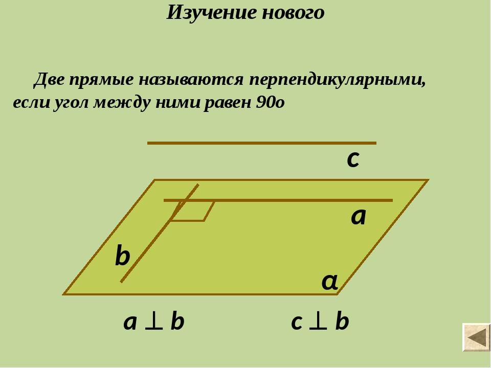 Изучение нового Две прямые называются перпендикулярными, если угол между ними...