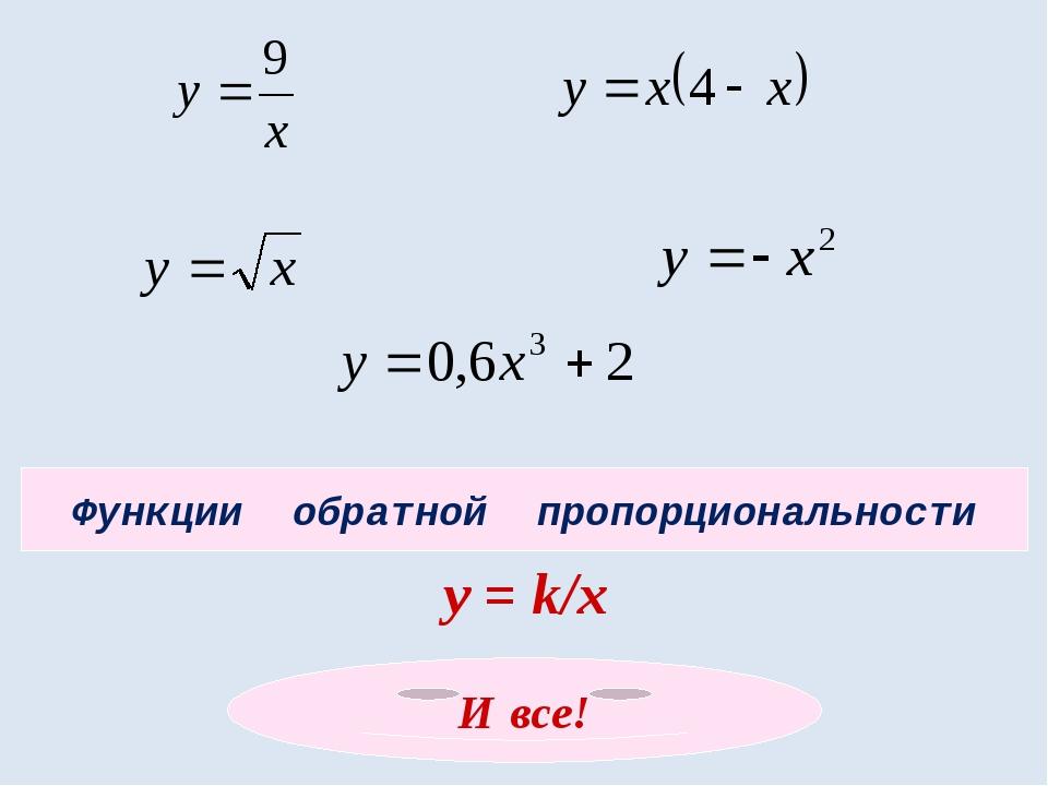 Функции обратной пропорциональности у = k/x И все!