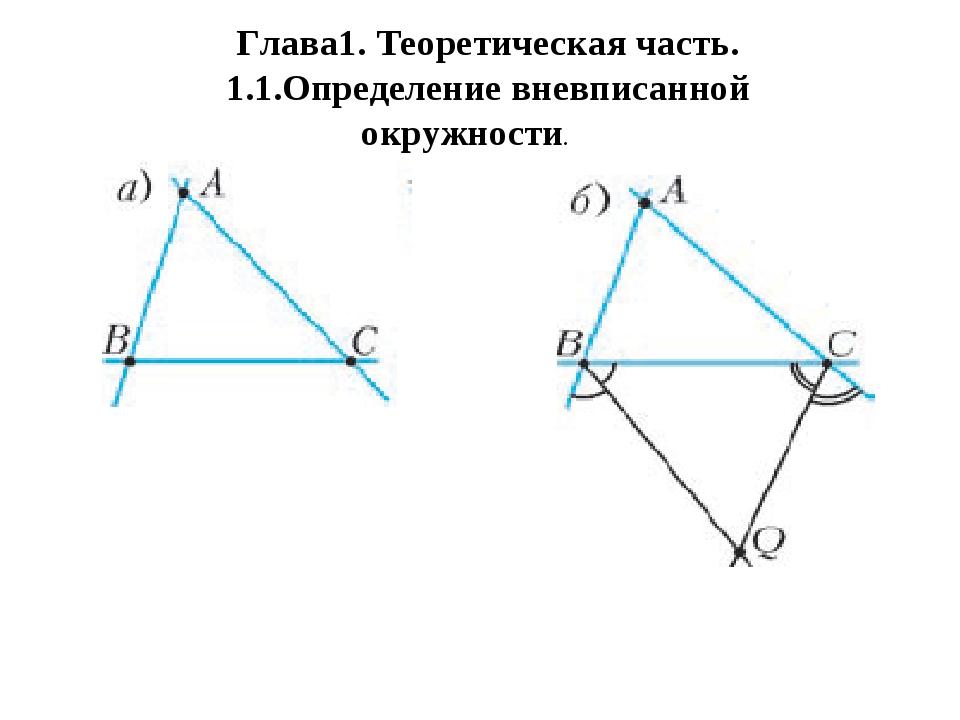 Глава1. Теоретическая часть. 1.1.Определение вневписанной окружности.