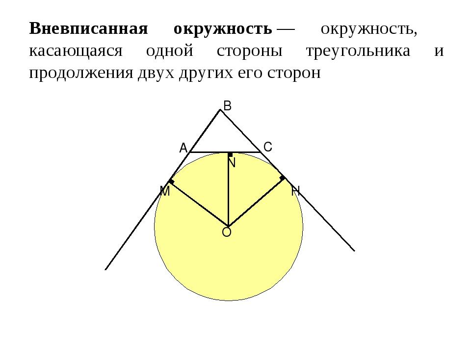 Вневписанная окружность— окружность, касающаяся одной стороны треугольника и...