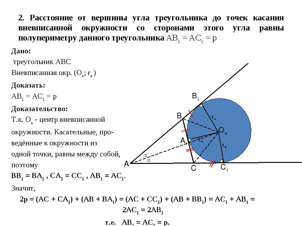 2. Расстояние от вершины угла треугольника до точек касания вневписанной окру...