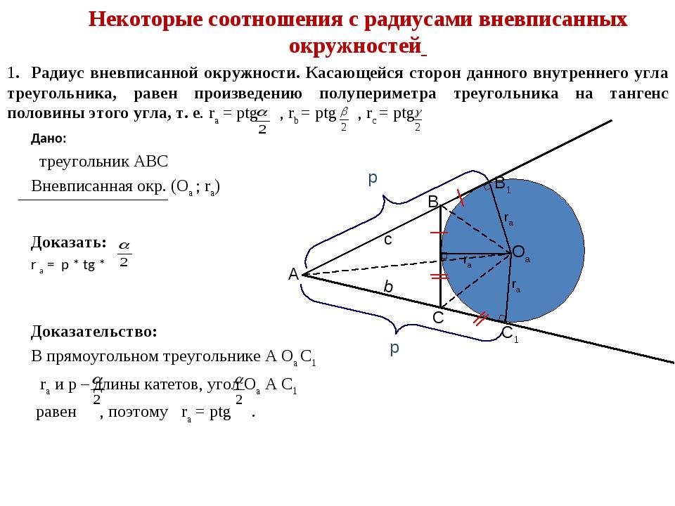 1. Радиус вневписанной окружности. Касающейся сторон данного внутреннего угла...