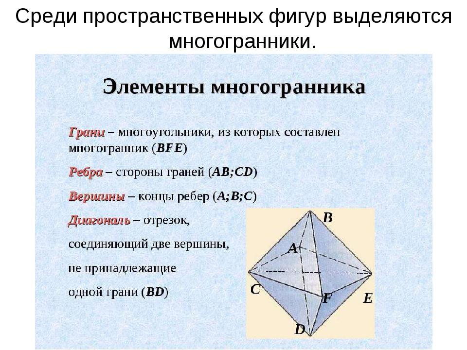 Среди пространственных фигур выделяются многогранники.