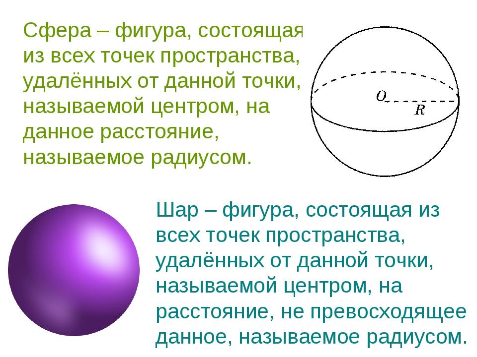 Сфера – фигура, состоящая из всех точек пространства, удалённых от данной точ...