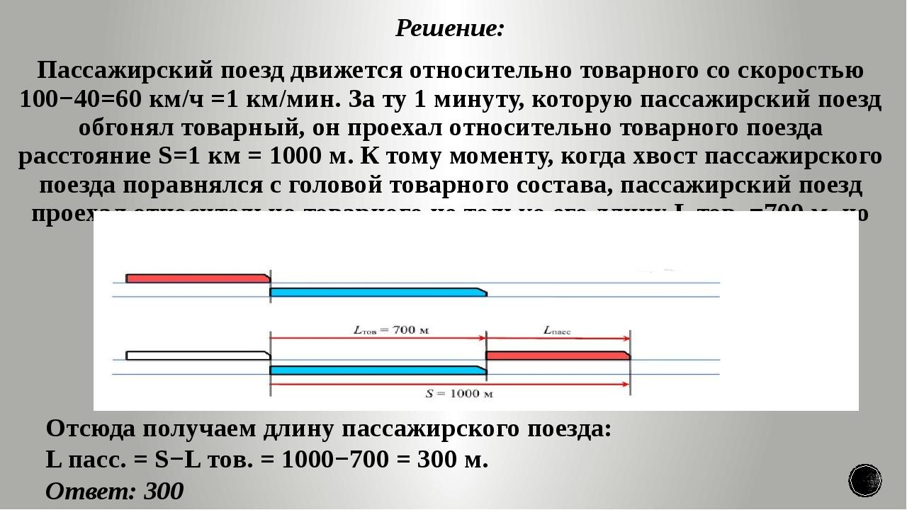 Решение: Пассажирский поезд движется относительно товарного со скоростью 100−...