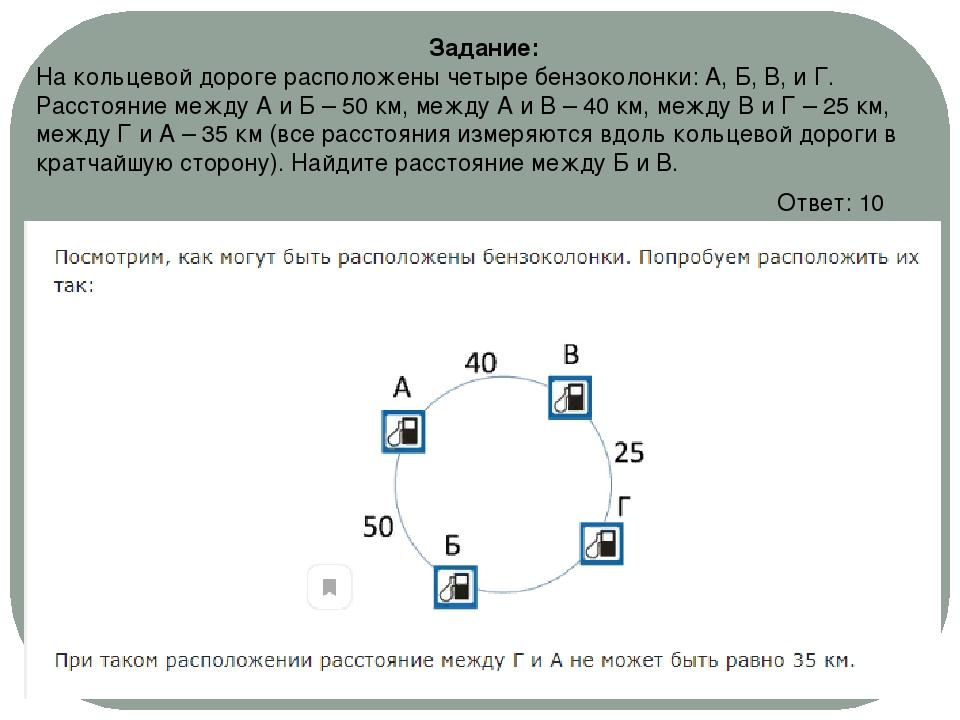 Задание: На кольцевой дороге расположены четыре бензоколонки: A, Б, B, и Г. Р...