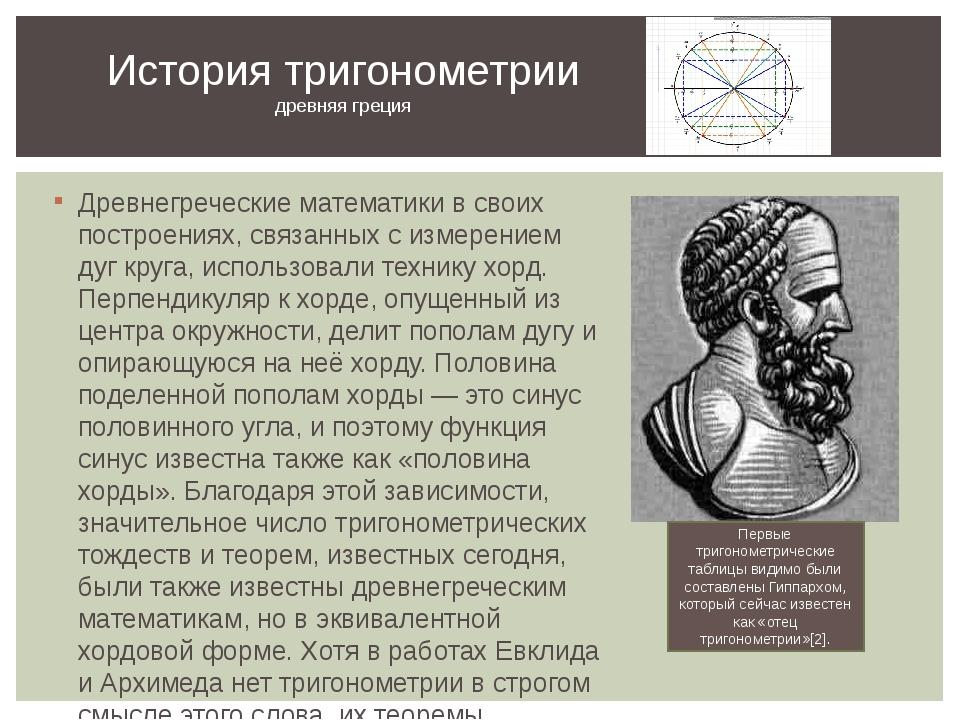 Древнегреческие математики в своих построениях, связанных с измерением дуг кр...
