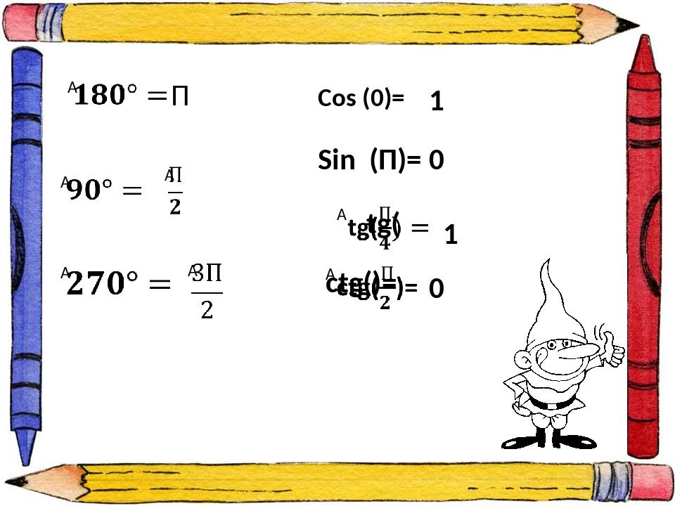 П Cos (0)= 1 Sin (П)= 0 1 0