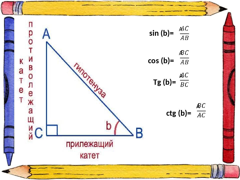 sin (b)= cos (b)= Tg (b)= ctg (b)=
