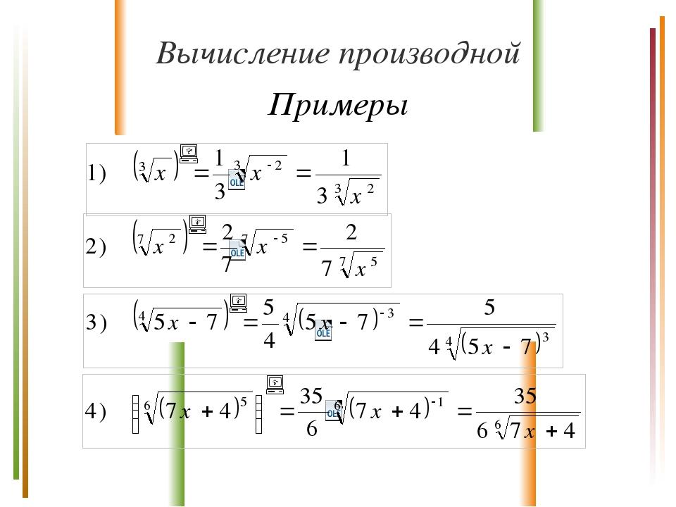 Вычисление производной Примеры