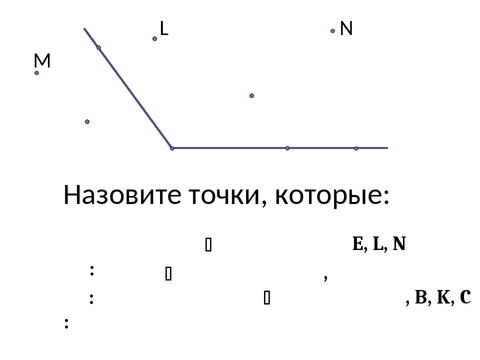 А В С К Е О N лежат на сторонах  АВС: M L Назовите точки, которые: точки E,...