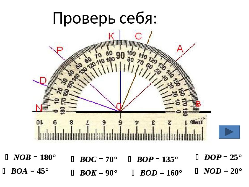 Проверь себя:  NOB = 180°  BOA = 45°  BOC = 70°  BOK = 90°  BOP = 135° ...