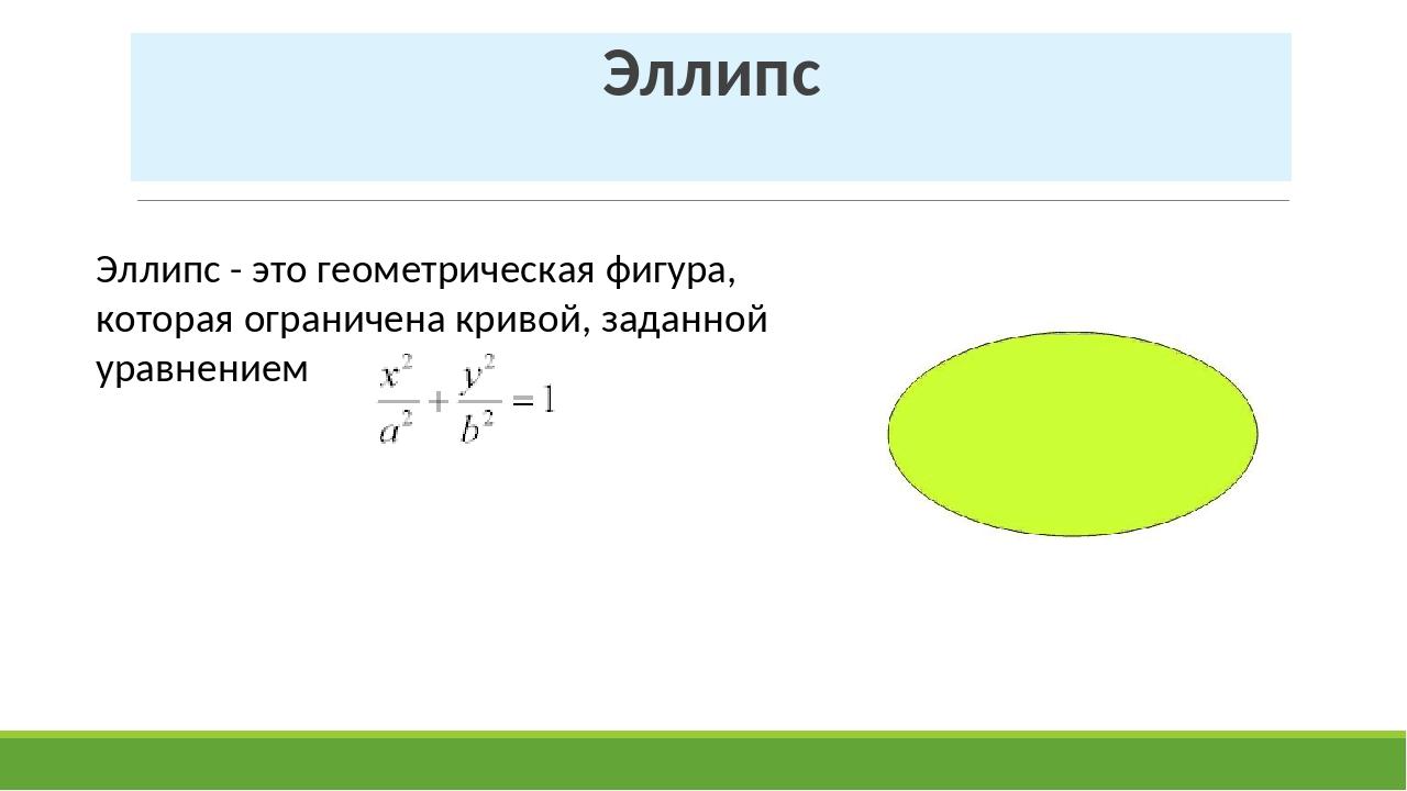 Эллипс Эллипс - это геометрическая фигура, которая ограничена кривой, заданно...