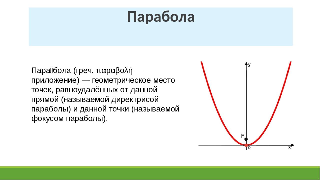 Парабола Пара́бола (греч. παραβολή — приложение) — геометрическое место точек...
