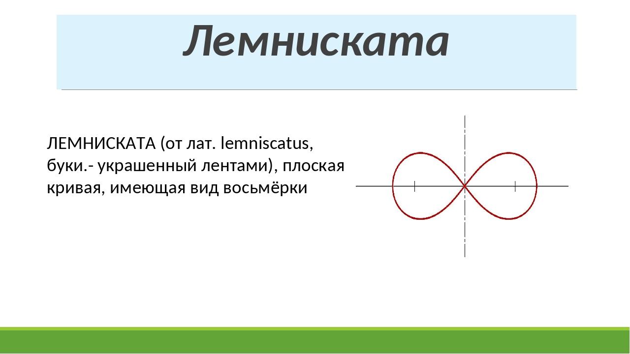 Лемниската ЛЕМНИСКАТА (от лат. lemniscatus, буки.- украшенный лентами), плоск...